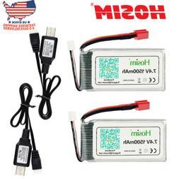 2Pcs Hosim 7.4V 2S 1500mAh 15C Li-Po Battery Pack +2Pcs USB