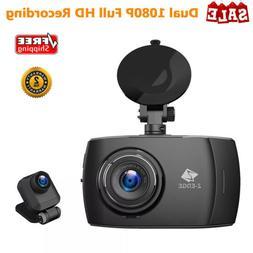 "4"" Dual Lens Car Dash Cam Camera 1080P HD Touch Screen Night"