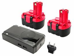 2x Battery +Charger +Car Plug +EU Adapter for Bosch GDR 14.4