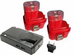 2x Battery +Charger +Car Plug +EU Adapter for Makita 6260D,