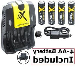 3100mAh 4AA Battery + Home & Car Charger for Nikon Coolpix L