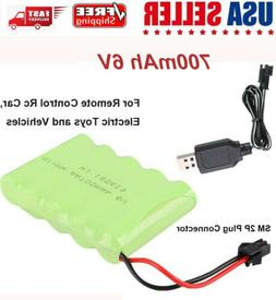 6V 700mAh NI-MH Battery Pack With USB Charging Cable for Rc
