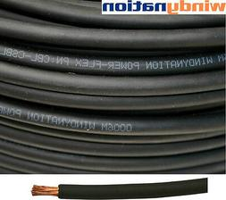 75' 4 AWG BLACK WELDING CABLE GAUGE COPPER  WIRE BATTERY SOL