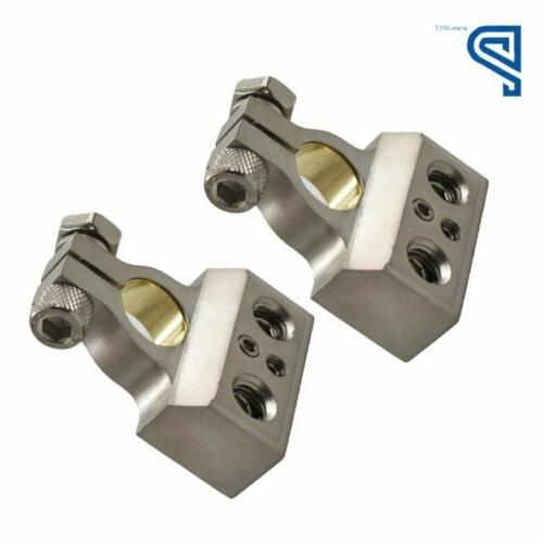 1/0 I 2 I 4 Gauge AWG Car Terminal Chrome Positive Negative Set