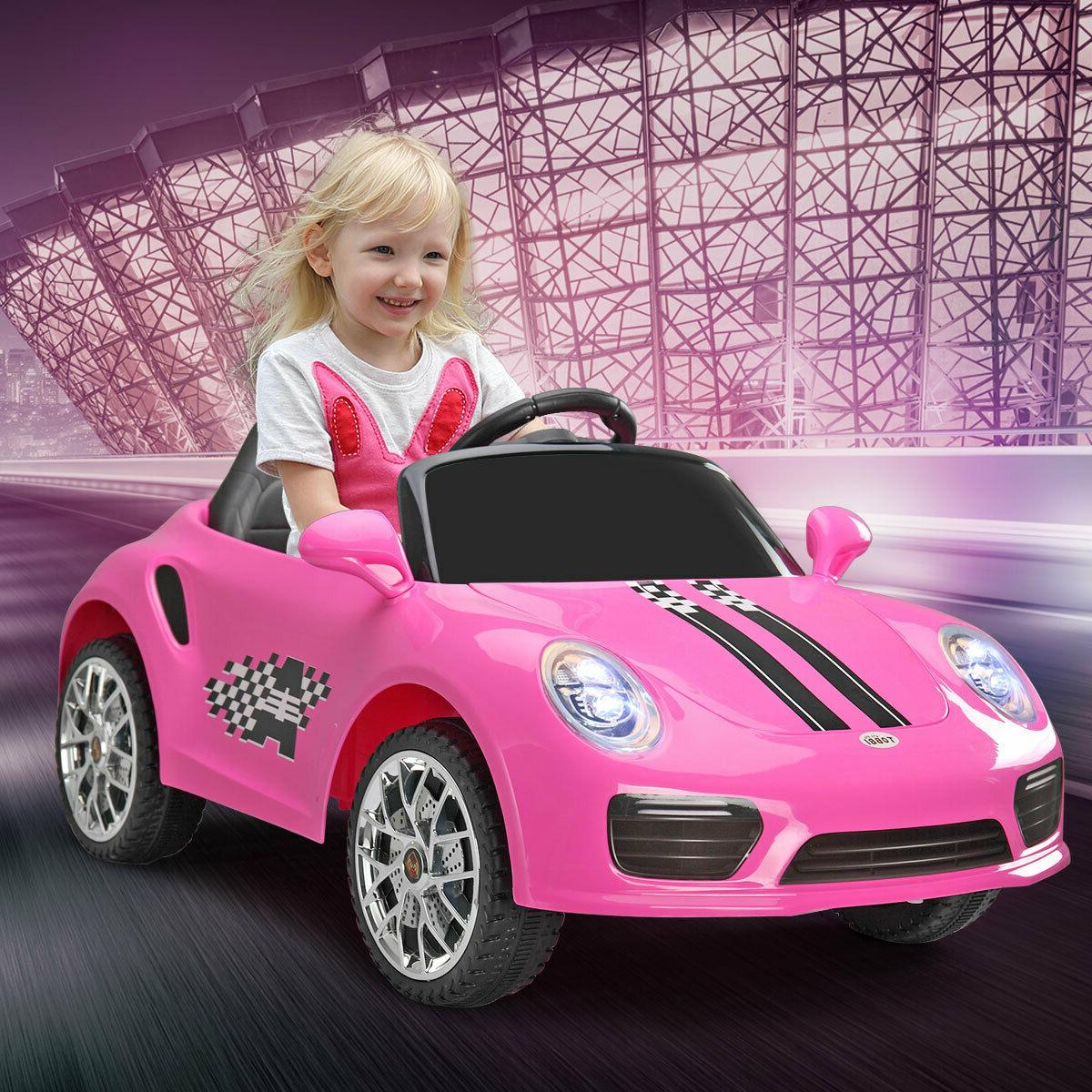 pink battery powered kids ride on car