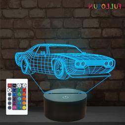 Sports Car 3D Night Light, Bedside Sleep Lamp Home Kids Bedr
